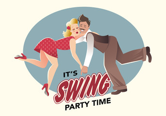 Fototapete - Funny couple dressed in retro style dancing swing or lindy hop. Comic style.