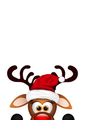 Funny Christmas Reindeer on white background