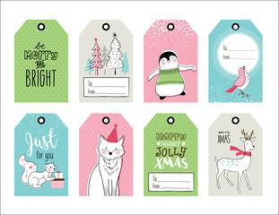 Set of hand drawn Christmas gift tags