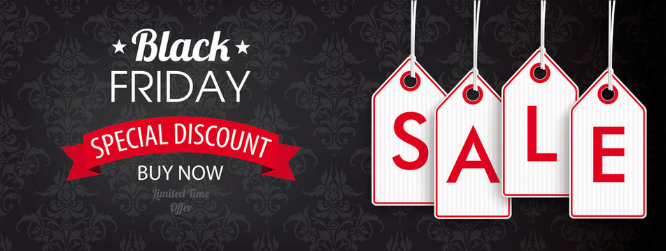 Black Friday Header Ornaments Price Stickers Sale
