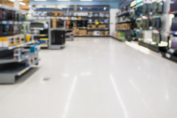 blur electronics store aisle background