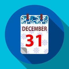 New Year's calendar 31 december.