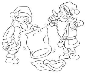 Cartoon Weihnachtsmänner schütteln verdutzt einen leeren Sack
