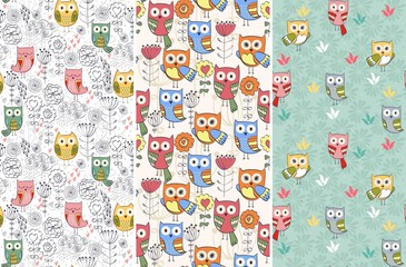 Cute floral seamless pattern with owl and flowers