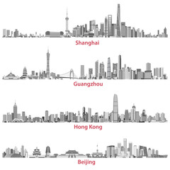 Fototapete - abstract vector illustrations of Shanghai, Guangzhou, Hong Kong and Beijing skylines at night