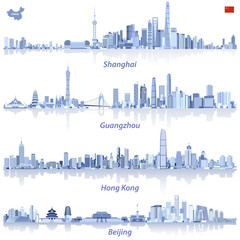 Fototapete - vector illustrations of Shanghai, Guangzhou, Hong Kong and Beijing skylines