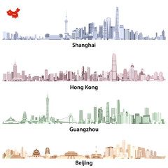Fototapete - abstract vector illustrations of Shanghai, Guangzhou, Hong Kong and Beijing skylines