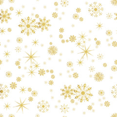 Vector Seamless Winter Pattern Background of Snowflakes
