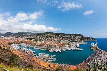 top view of port with yachts in Nice, French Riviera, France