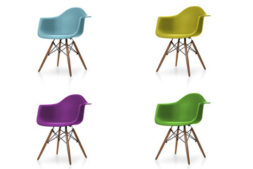 Set of modern colorful chair