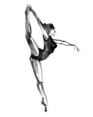 ballerina dancing. watercolor illustration on white background.