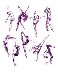 Watercolor violet collection of contemporary dance peoples