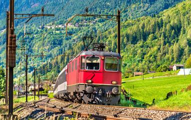 Passenger train is going down the Gotthard pass - Switzerland