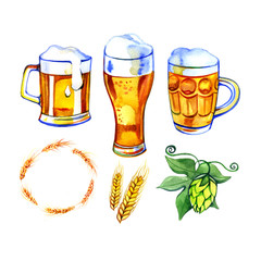 Beer set icons, logo, label. Watercolor style