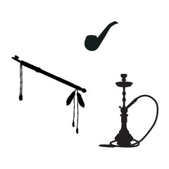 Smoking silhouette icons set