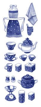 Hand drawn watercolor set of retro blue kitchenware
