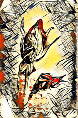Abstract flowers oils painting - art illustration