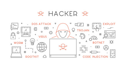 Vector concept of hacking and cyber crimes