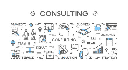 Vector line concept for business consulting