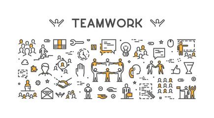 Vector modern line concept for teamwork