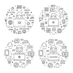 Concept vector hacker and internet crime