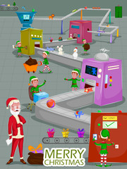 Santa and Elf making gift for Merry Christmas holiday greeting card background