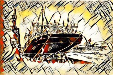 Old ship painted, oil art illustration