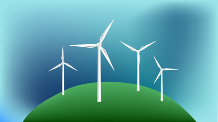 Vector image of a wind farm with dark skies