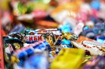 Sweets. Candy. New year. Bright colors. Waiting for a miracle