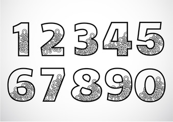 Vector of Oriental Style Number. Traditional Chinese style.