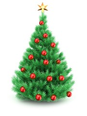 3d illustration of Christmas tree over white background with golden star and red balls
