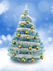 3d illustration of blue Christmas tree over snow background with tinslel and golden balls