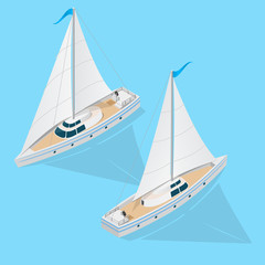 Yacht Set Isometric View. Vector
