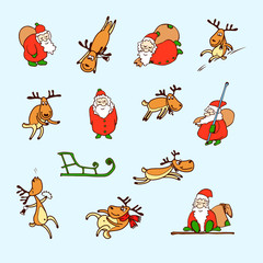 Cartoon Christmas set. Vector funny Santa Claus, reindeer, sled