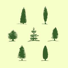 Set of hand drawn sketch trees - pine, fir tree, cypress. Christmas tree