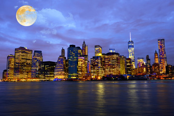 Canvas Prints New York Full Moon over New York City