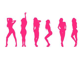 Icono plano siluetas de mujeres desnudas rosa sobre fondo blanco