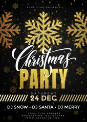 Christmas Party placard with snowflakes pattern