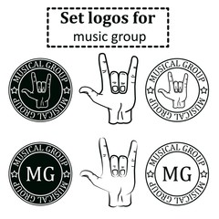 logos set for a musical group in the form of printing with a goa