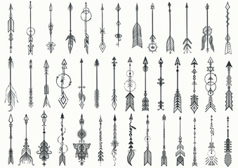 Big set of Hand drawn boho arrows for design element
