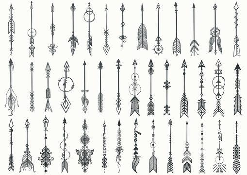 Big set of Hand drawn boho arrows for design element