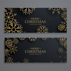 stylish christmas festival banners template with gold snowflakes
