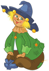 Scarecrow. Wizard of Oz cartoon illustration