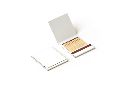 Blank promo matches book mock up, clipping path, 3d rendering. Empty paper match box packaging mockup isolated. Matchbook case top side view design presentation. Opened matchbox.