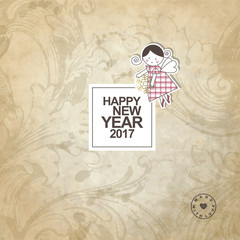 New year card with copy space.