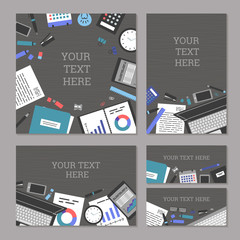 The concept set of banners marketing and management, office tools objects and devices, flat symbol top view, modern design, work space vector illustration