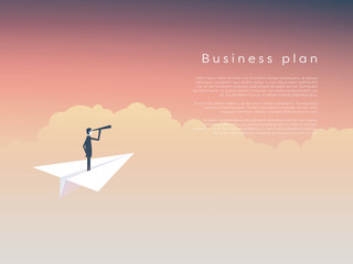 Businessman on a paper plane as  symbol of business leadership, vision, strategy, plan.