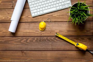 Engineer wooden working desktop top view
