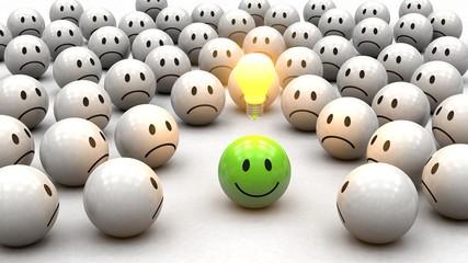 Konzept Kreativität: grüner 3D Smiley mit Glühbirne - neidische Smiley drumherum