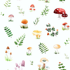 Watercolor pattern with cute and mushrooms leafs in awesome colors. Bright summer concept background in vector.